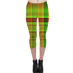 Multicoloured Background Pattern Capri Leggings