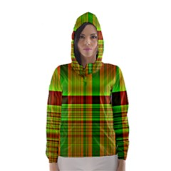 Multicoloured Background Pattern Hooded Wind Breaker (women)