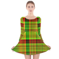 Multicoloured Background Pattern Long Sleeve Velvet Skater Dress