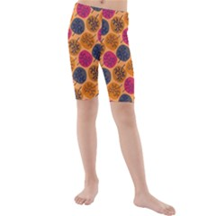 Colorful Trees Background Pattern Kids  Mid Length Swim Shorts