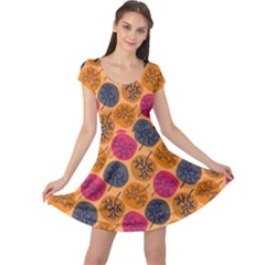 Colorful Trees Background Pattern Cap Sleeve Dresses