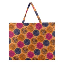 Colorful Trees Background Pattern Zipper Large Tote Bag