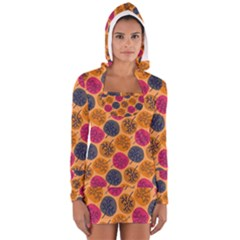 Colorful Trees Background Pattern Women s Long Sleeve Hooded T Shirt