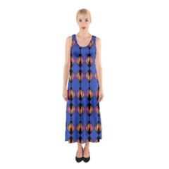 Abstract Lines Seamless Pattern Sleeveless Maxi Dress