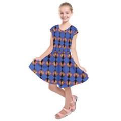 Abstract Lines Seamless Pattern Kids  Short Sleeve Dress