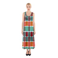 Bricks Abstract Seamless Pattern Sleeveless Maxi Dress