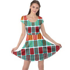 Bricks Abstract Seamless Pattern Cap Sleeve Dresses