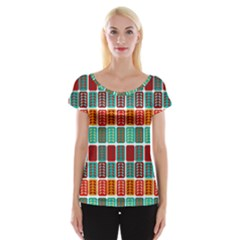 Bricks Abstract Seamless Pattern Women s Cap Sleeve Top