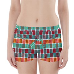 Bricks Abstract Seamless Pattern Boyleg Bikini Wrap Bottoms