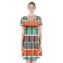 Bricks Abstract Seamless Pattern Short Sleeve V Neck Flare Dress