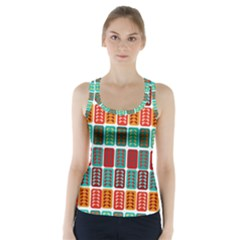 Bricks Abstract Seamless Pattern Racer Back Sports Top