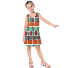 Bricks Abstract Seamless Pattern Kids  Sleeveless Dress