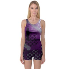 Evil Moon Dark Background With An Abstract Moonlit Landscape One Piece Boyleg Swimsuit
