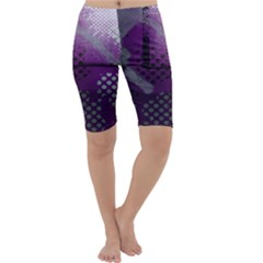 Evil Moon Dark Background With An Abstract Moonlit Landscape Cropped Leggings