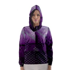 Evil Moon Dark Background With An Abstract Moonlit Landscape Hooded Wind Breaker (women)