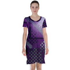 Evil Moon Dark Background With An Abstract Moonlit Landscape Short Sleeve Nightdress