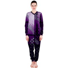 Evil Moon Dark Background With An Abstract Moonlit Landscape OnePiece Jumpsuit (Ladies)