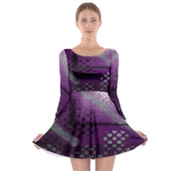 Evil Moon Dark Background With An Abstract Moonlit Landscape Long Sleeve Skater Dress