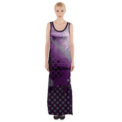 Evil Moon Dark Background With An Abstract Moonlit Landscape Maxi Thigh Split Dress