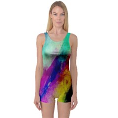Colorful Abstract Paint Splats Background One Piece Boyleg Swimsuit