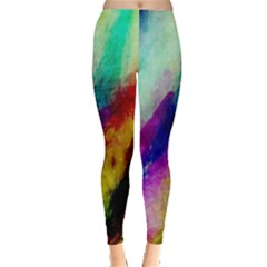 Colorful Abstract Paint Splats Background Leggings