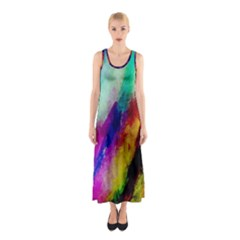 Colorful Abstract Paint Splats Background Sleeveless Maxi Dress