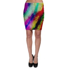 Colorful Abstract Paint Splats Background Bodycon Skirt