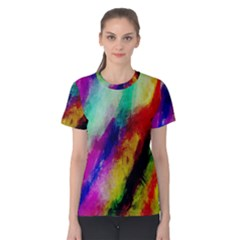 Colorful Abstract Paint Splats Background Women s Cotton Tee
