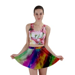 Colorful Abstract Paint Splats Background Mini Skirt