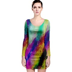 Colorful Abstract Paint Splats Background Long Sleeve Bodycon Dress