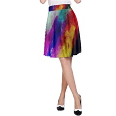 Colorful Abstract Paint Splats Background A-Line Skirt