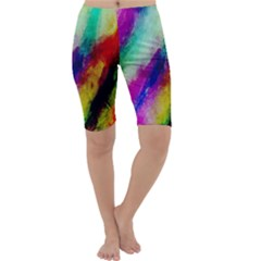 Colorful Abstract Paint Splats Background Cropped Leggings