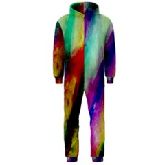 Colorful Abstract Paint Splats Background Hooded Jumpsuit (men)