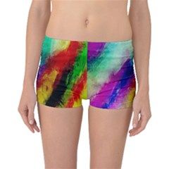 Colorful Abstract Paint Splats Background Boyleg Bikini Bottoms