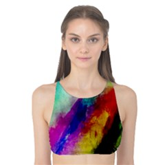 Colorful Abstract Paint Splats Background Tank Bikini Top