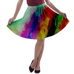 Colorful Abstract Paint Splats Background A Line Skater Skirt
