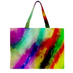 Colorful Abstract Paint Splats Background Zipper Large Tote Bag