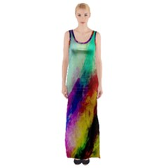Colorful Abstract Paint Splats Background Maxi Thigh Split Dress