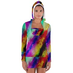 Colorful Abstract Paint Splats Background Women s Long Sleeve Hooded T-shirt