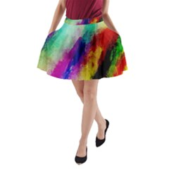 Colorful Abstract Paint Splats Background A Line Pocket Skirt