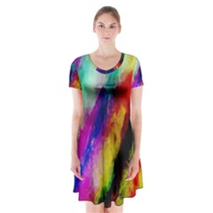 Colorful Abstract Paint Splats Background Short Sleeve V-neck Flare Dress