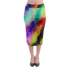 Colorful Abstract Paint Splats Background Midi Pencil Skirt