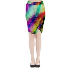 Colorful Abstract Paint Splats Background Midi Wrap Pencil Skirt