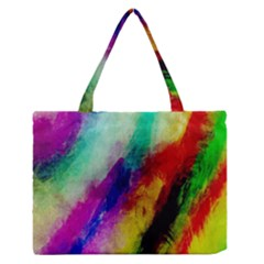 Colorful Abstract Paint Splats Background Medium Zipper Tote Bag