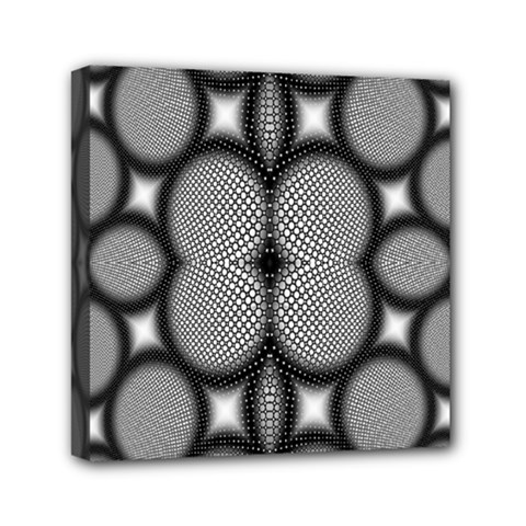 Mirror Of Black And White Fractal Texture Mini Canvas 6  X 6