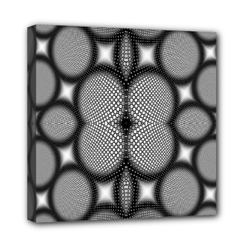 Mirror Of Black And White Fractal Texture Mini Canvas 8  X 8