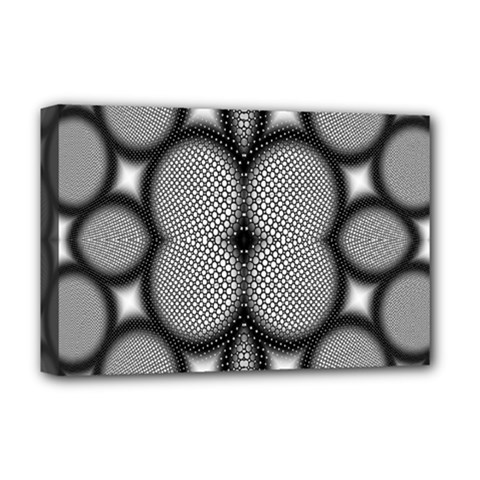 Mirror Of Black And White Fractal Texture Deluxe Canvas 18  x 12