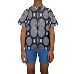 Mirror Of Black And White Fractal Texture Kids  Short Sleeve Swimwear