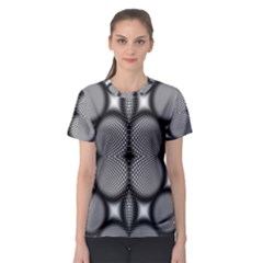 Mirror Of Black And White Fractal Texture Women s Sport Mesh Tee