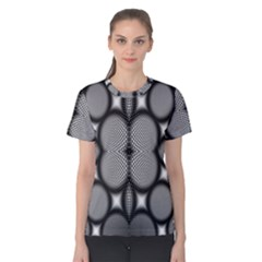 Mirror Of Black And White Fractal Texture Women s Cotton Tee